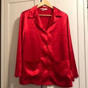 Victoria secret size medium silk red pajamas top